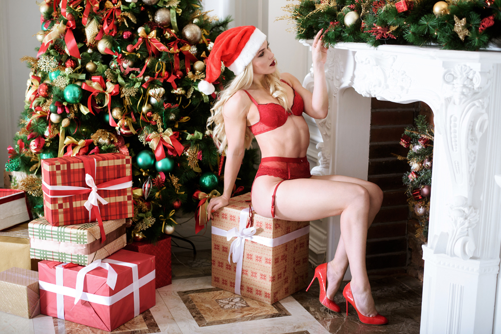 Beautiful blonde sexy Santa Clause in elegant panties, hat and bra